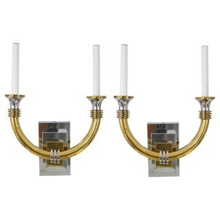 Art Deco Revival Wall Sconces in Polished Chrome and Brass - a Pair For Sale