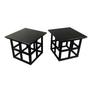 Pair Black Lacquered Ash Side Tables, Manner of Charles Macintosh
