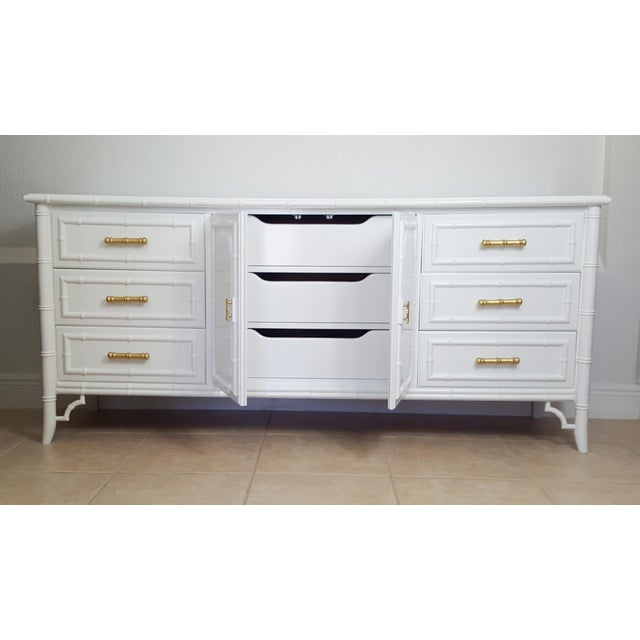 Hollywood Regency Dixie Aloha Faux Bamboo 9 Drawer Dresser For Sale - Image 3 of 10