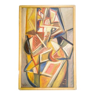 Cubist Portrait of Nude Female Painting by STM For Sale