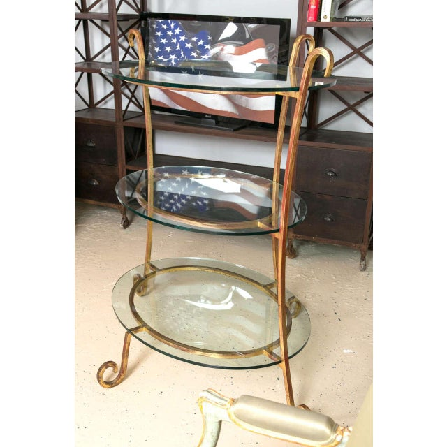 Three-Tier Glass & Gilt Metal Etagere Server or Stand For Sale In New York - Image 6 of 7