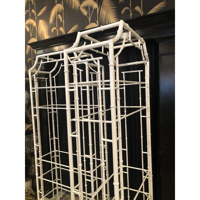 Vintage Chinese Chippendale Newly White Powder-Coated Faux Bamboo Pagoda Metal Shelves Etageres -A Pair For Sale - Image 11 of 13
