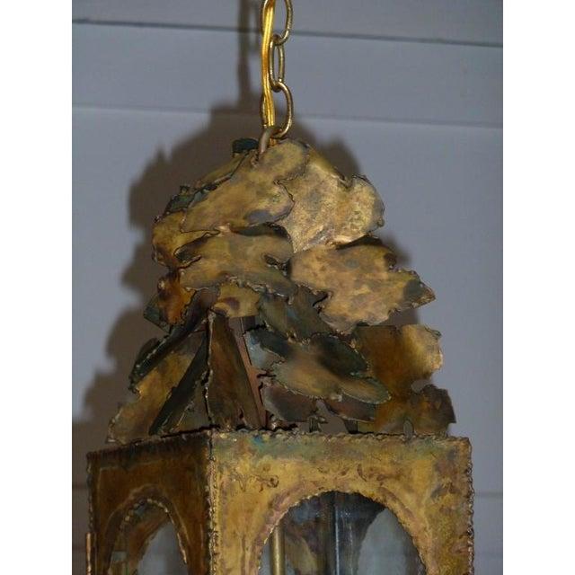 Brutalist Vintage Tom Greene Mid-Century Brass Pendant Light For Sale - Image 3 of 5