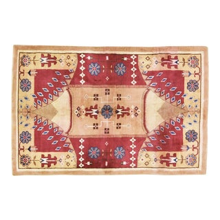 Vintage Chinese Art Deco Hand Knotted Organic Wool Fine Weave Rug For Sale