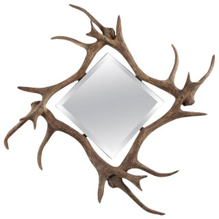 Contemporary Modern Faux Deer Antler Wall Mirror For Sale