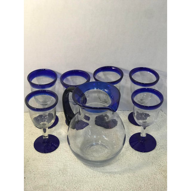 Glass Vintage Mexican Blown Glass Cobalt Blue Rim Pitcher and Goblets - Set of 7 For Sale - Image 7 of 7