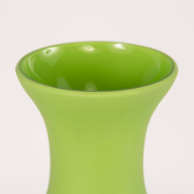 """Circa 1970s classic form Murano glass vase attributed to Cenedese. Matte finish spring green color and stands 12"""" high...."""