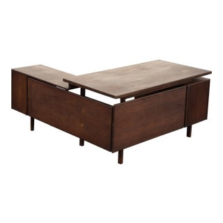 "1960s Vintage Jens Risom ""L Shaped"" Floating Top Executive Desk For Sale"