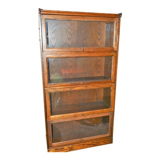 Oak Barrister Four Shelf Bookcase For Sale