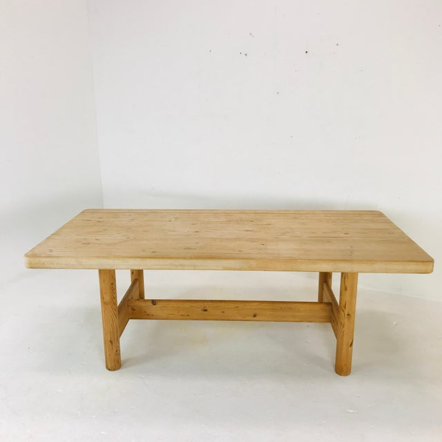 Substantial Solid Scandinavian Pine Butcher Block Dining Table For Sale - Image 11 of 13