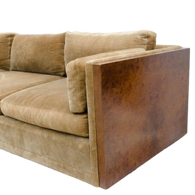 Milo Baughman Style Burl Wood Sofa For Sale - Image 5 of 11