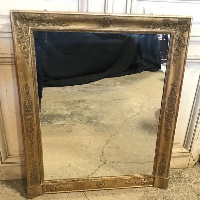 Large 19th Century French Empire Giltwood Mirror For Sale - Image 11 of 11