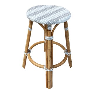 Serena & Lily Riviera Counter Stool in Grey Stripe For Sale