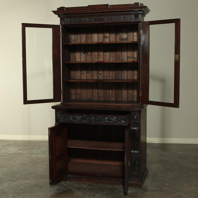 19th Century Renaissance Revival Bookcase With Angels~ Putti For Sale - Image 4 of 13