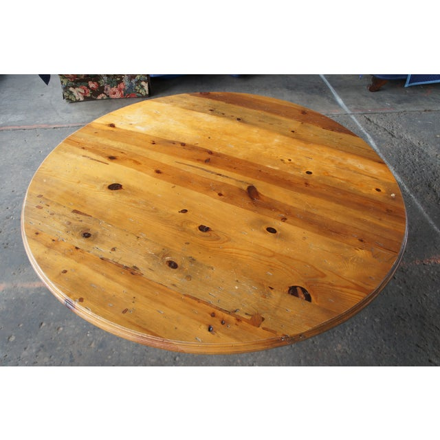 Pine Rustic Ralph Lauren Distressed Pine Pedestal Table For Sale - Image 7 of 13