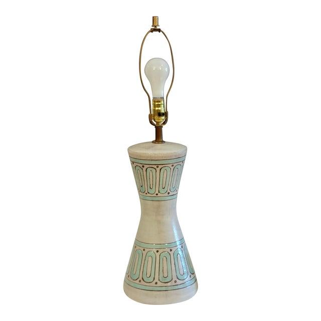 1960s Bitossi Pottery Londi Vase Italian Raymor Geometric Abstract Ceramic Lamp For Sale