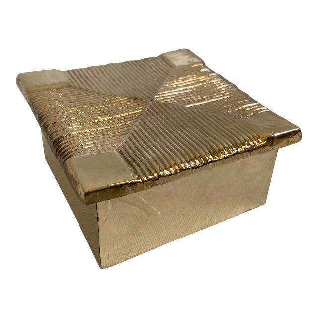 Mid-Century Brutalist Sarreid Brass Box For Sale