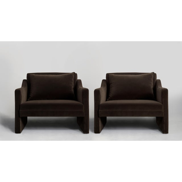 Americana Stately Club Chairs in Mink Chocolate Velvet - A Pair For Sale - Image 3 of 4