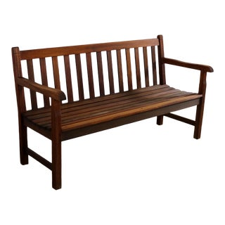 Vintage Windsor Natural Teak Outdoor Three Seat Bench For Sale