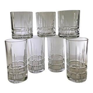 Vintage Cristal D'Arques-Durand Arizona-Parallels Glasses Set - 7 Pieces For Sale