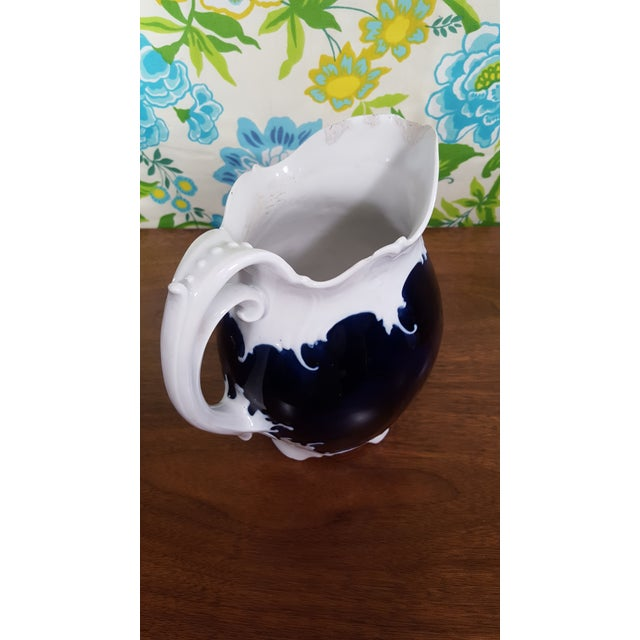 Antique Victorian Era Cobalt Blue and Bone White China Water Pitcher and Chamber Pot - Wave Like Detailing For Sale - Image 9 of 13
