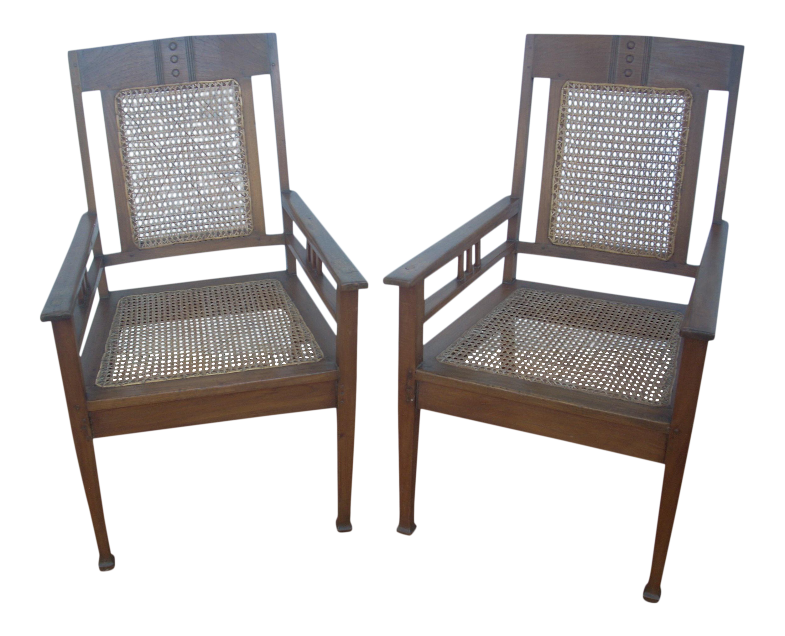 Frank Lloyd Wright Style Craftsman Chairs  A Pair For Sale