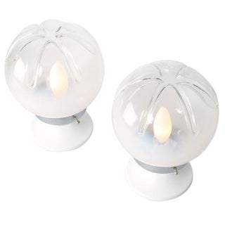 PAIR OF SMALL MAZZEGA GLASS TABLE LAMPS, CIRCA 1970S