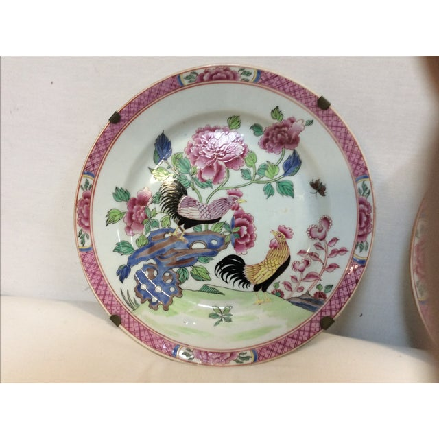Pair of Chinese Export Style Antique Rooster Plates Possibly French - Image 4 of 8