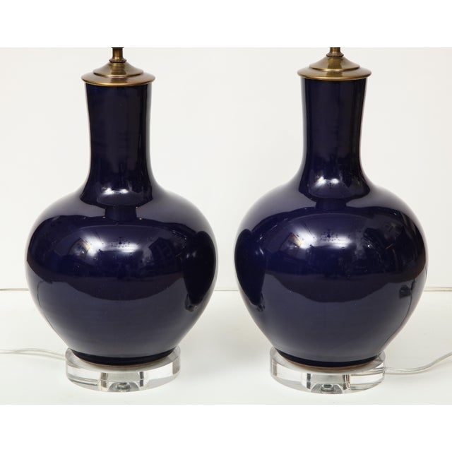 Ceramic Chinese Vase Lamps - A Pair For Sale - Image 7 of 9