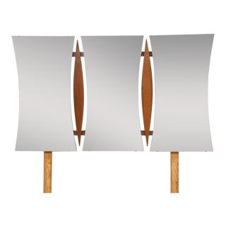 Mid Century Modern Walnut Triple Mirror For Sale