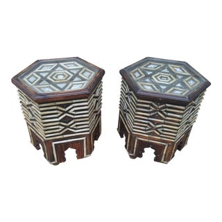 Mid 20th Century Camel Bone Inlay Hexagonal Studded Side Tables - a Pair For Sale
