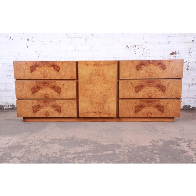 Milo Baughman Style Burl Wood Long Dresser or Credenza by Lane For Sale - Image 13 of 13