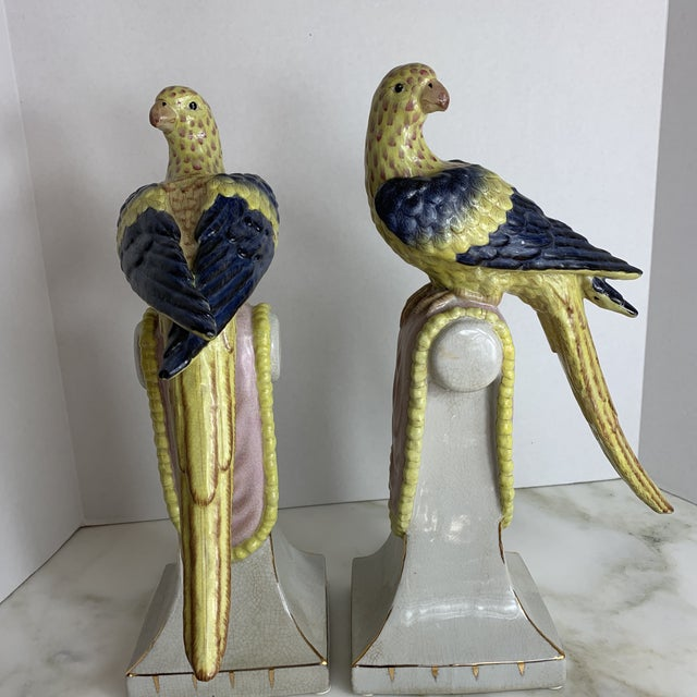 Vintage Extra Large Chinese Parrots on Perches- a Pair For Sale - Image 10 of 13