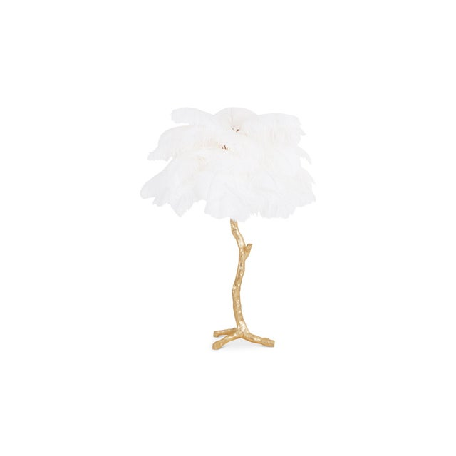 Gold Palm Tree Lamp With White Feathers For Sale - Image 9 of 9