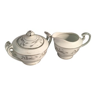 Diane Pattern Vintage Harmony House Fine China Platinum Garland 3541 Sugar and Cream Set - 2 Pieces For Sale