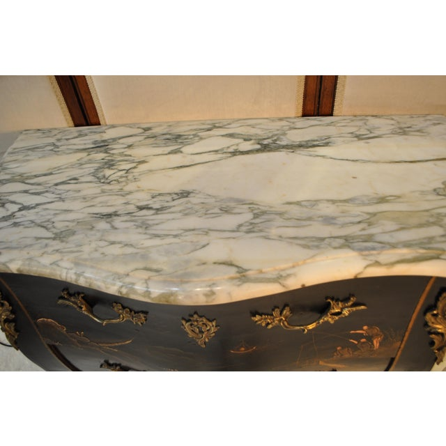 French Louis XV Style Bombe Form Two Drawer Chest With Chinoiserie Decorations and White Marble Top For Sale - Image 4 of 13
