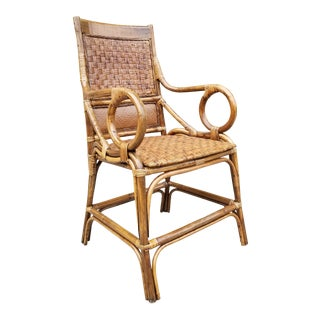 Mid Century Hollywood Regency Rattan & Bamboo Armchair For Sale