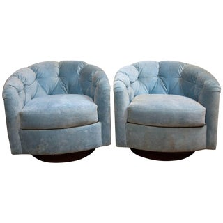 1970s Vintage Tufted Milo Baughman Style Lounge Chairs- a Pair For Sale