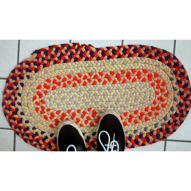 """Americana 1930s Handmade Antique American Braided Rug - 1'3"""" x 2'4"""" For Sale - Image 3 of 10"""