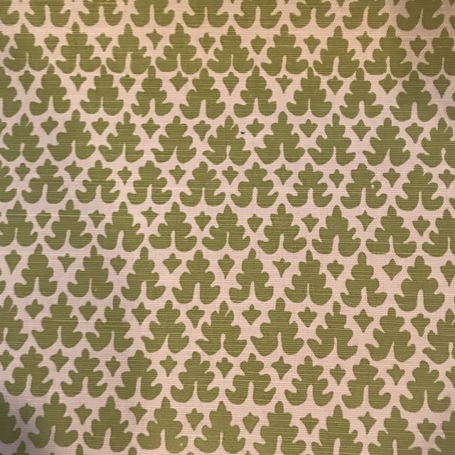 """1 1/2 yards of Quadrille Volpi Apple on tint linen fabric. 100% linen fabric 52 """" wide / 2.5"""" V repeat Will ship flat"""