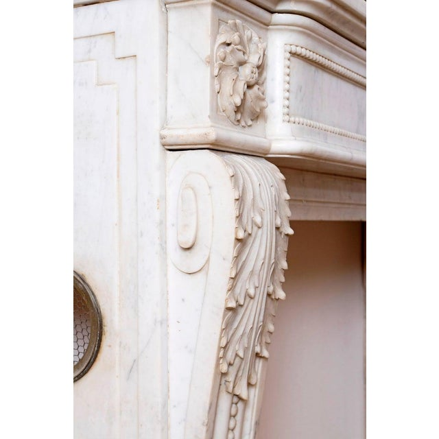 19th Century Louis XVI Style Carrara Marble Fireplace Surround / Mantel For Sale - Image 10 of 13