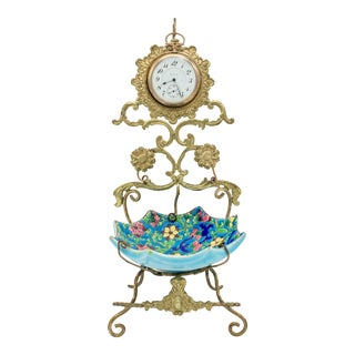 French Longwy Pocket Watch Stand For Sale