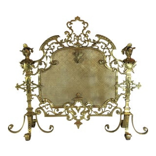 Antique French Bronze Armorial Firescreen, Circa 1880. For Sale