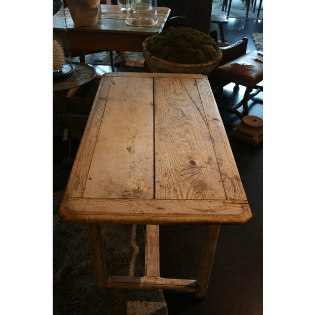 French Country Painted Oak Two Drawer Table For Sale - Image 3 of 7