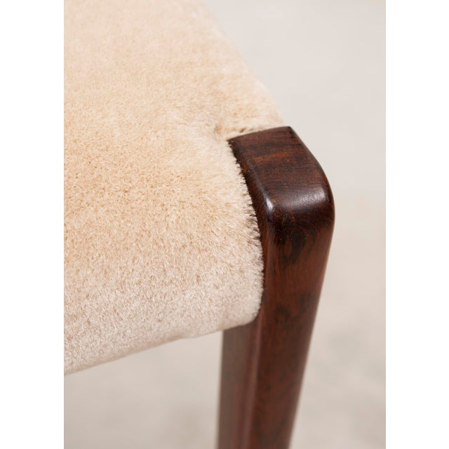 Brown Set of Six Niels Moller Dining Chairs Model #71 in Rosewood and Velvet Mohair For Sale - Image 8 of 11