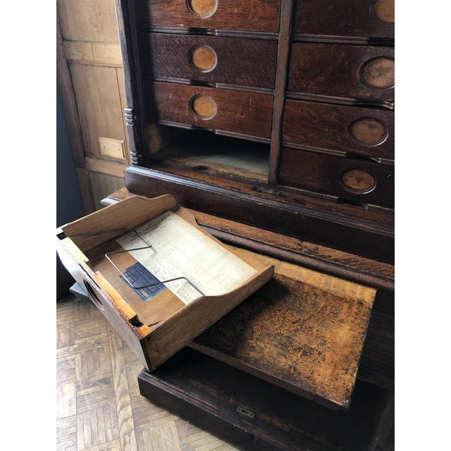 Wood Antique Ambergs File Cabinet For Sale - Image 7 of 11