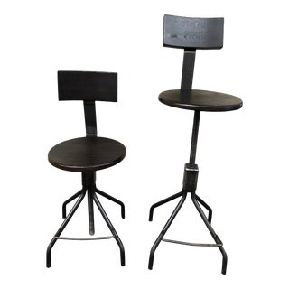 Industrial Adjustable Stools by Rejuvenation - a Pair For Sale