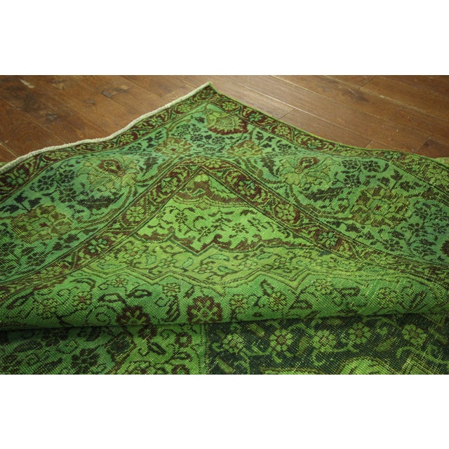 "Lime Green Overdyed Tabriz Area Rug - 9'5"" x 12' - Image 9 of 10"