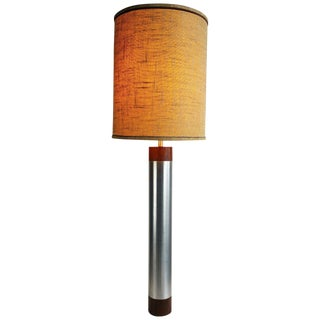 Monumental Aluminum and Rosewood Cylinder Table Lamp For Sale