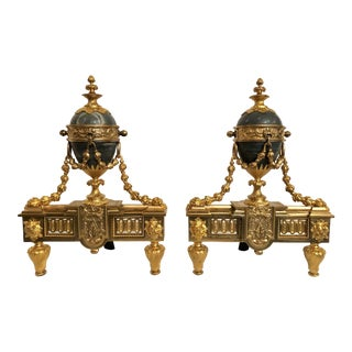 Pair Antique French Louis XVI Marble and Bronze d'Ore Chenets For Sale